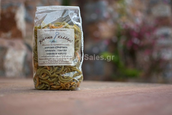 Ζυμαρικά Στριφτάρια Δίχρωμα, Αγκινάρα, Τζιντζερ, Λεμόνι & Καρότο Χιώτικο Κελλάρι 500γρ
